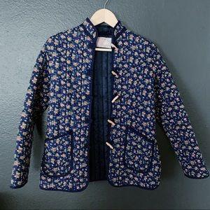 Vintage quilted prairie floral toggle jacket
